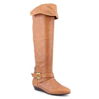 Chinese Laundry Tremendous Women Round Toe Leather Tan Over the Knee Boot