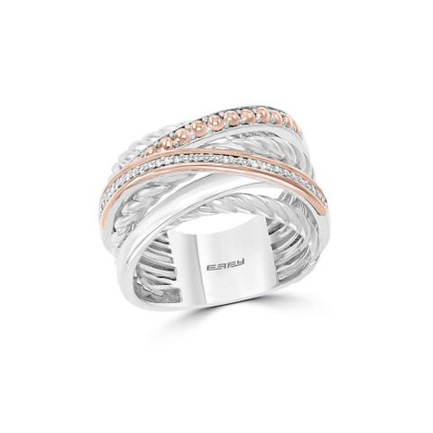 Effy Jewelry Diamond Crossover Band in 929 Sterling Silver with 18K Yellow Gold Plating, 0.1 TWC