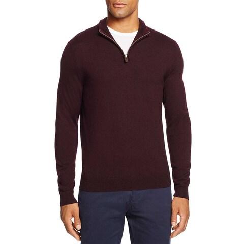 Bloomingdales Mens Merino Wool Half Zip Mock Neck Sweater Small Raisin Knitwear