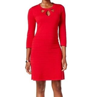 Nine West NEW Red Fire Women's Size XS Cutout Flare Sweater Dress