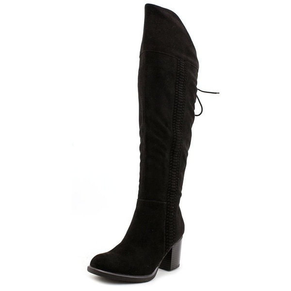 American Rag Leonna Women Round Toe Canvas Black Over the Knee Boot