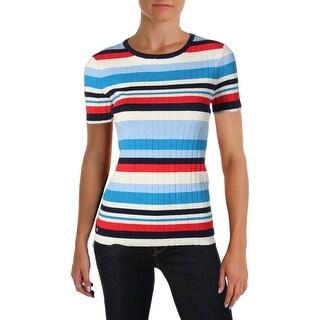 Lauren Ralph Lauren Womens Lizina Pullover Sweater Striped Short Sleeves
