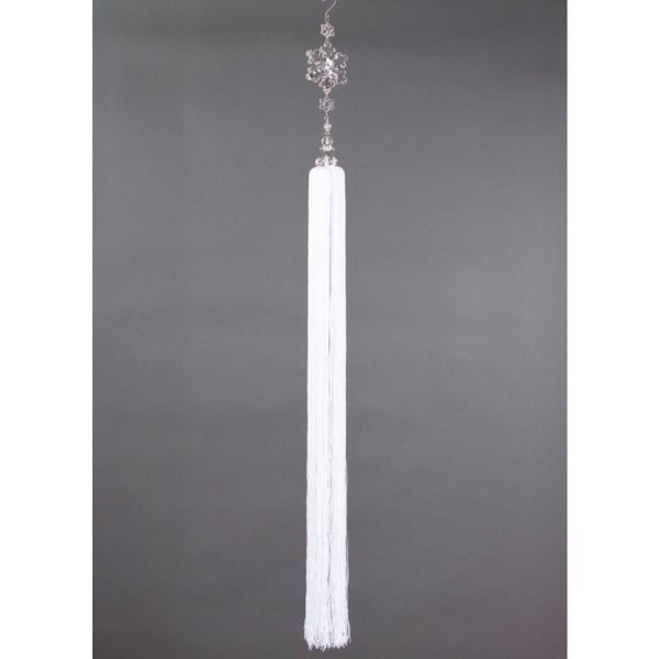 """42"""" Snow Drift Exquisite Crystal Snowflakes with Tassel Christmas Ornament - WHITE"""