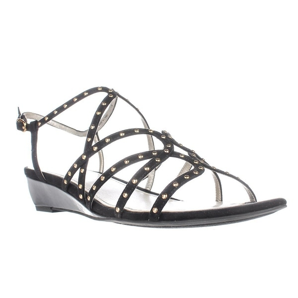Anne Klein Mallory Studded Wedge Sandals, Black - 11 us