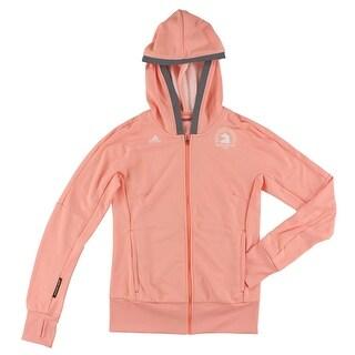 Adidas Womens Boston Marathon Beyond the Run Hoody Pastel Orange - pastel orange/grey