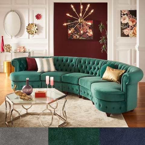 Morgan Velvet Tufted Scroll Arm Chesterfield 5-Seat Curved Sofa by iNSPIRE Q Bold