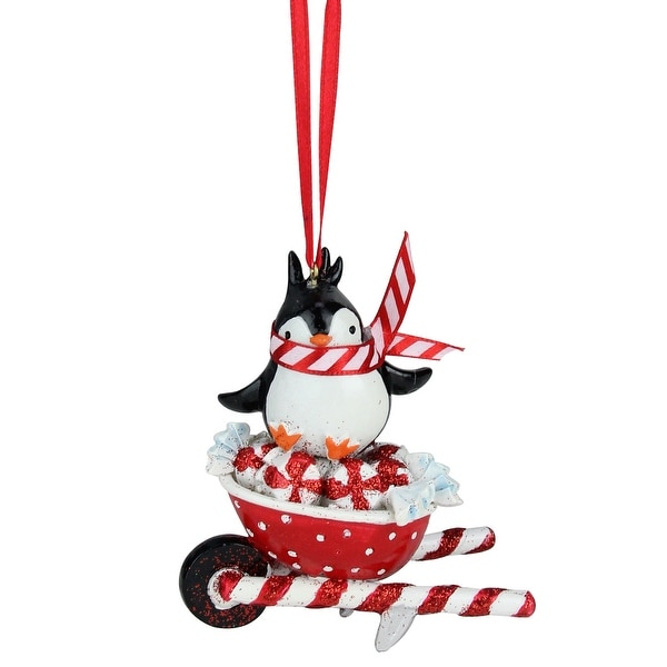 """3"""" Peppermint Twist Penguin on White and Red Glitter Wheel Barrel Decorative Christmas Ornament"""