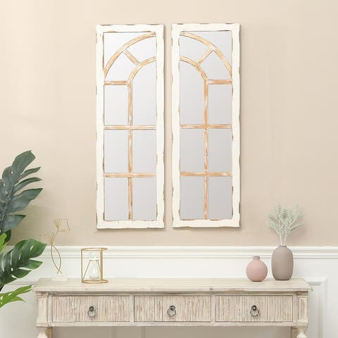 "Two Piece White Wood Framed Window Wall Mirror - 36.3"" H x 12"" W"