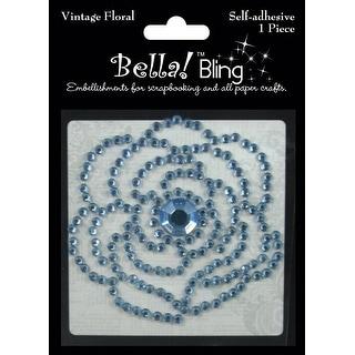 Bling Self-Adhesive Rhinestone Vintage Floral-Blue - Blue