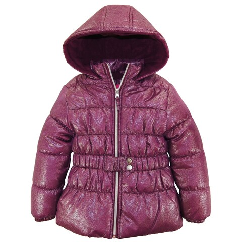 Pink Platinum Toddler Girl All Over Spray Print Winter Jacket with Mock Belt