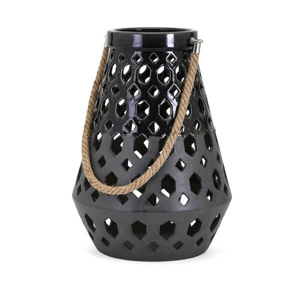 IMAX Home 14552 Miles Ceramic Pillar Lantern Candle Holder - Black