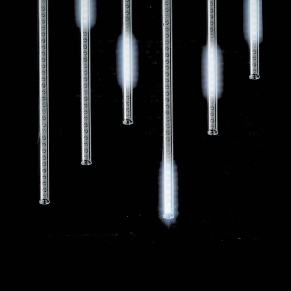 """Snowfall - Set of 5 Single-Sided 14"""" LED Outdoor Christmas Icicle Light Add-On Tubes - CLEAR"""