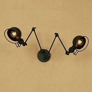 2 light vintage industrial swing arm wall sconce,black wall light fixture