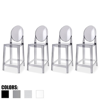"2xhome Set of 4 Smoke Modern 25"" Seat Bar Stool Counter Height with Backs Plastic Chairs For Home Restaurant Office"