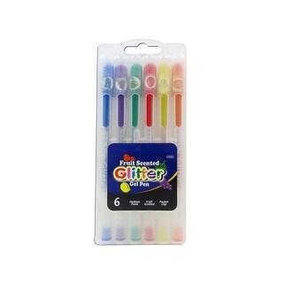 Bazic Pen Gel Glitter Fruit Scented in Case 6pc