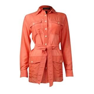 Lauren Ralph Lauren Women's Belted Button Down Tunic Top