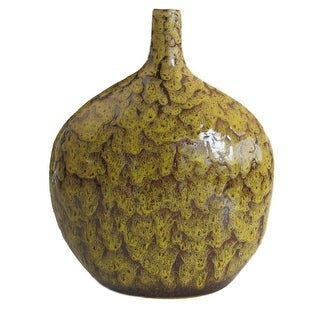 Bellied Ceramic Vase With Dripping Glazed Texture, Yellow and Brown