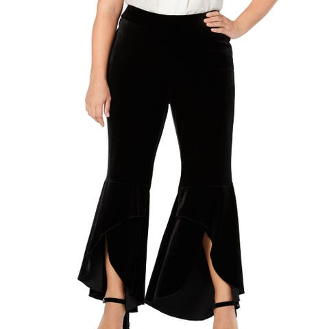 INC Women's Pants Black Size 22W Plus Velvet Flare Hem Split Stretch