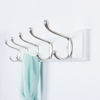 Dual Wall Hook Rack Bamboo Base 3/4/5 Hooks Coat Towel Holder Wood White