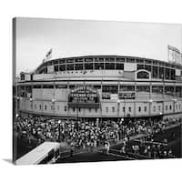 Premium Thick-Wrap Canvas entitled Tourists outside a baseball stadium at opening night, Wrigley Field, Chicago - Multi-color