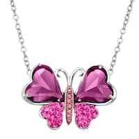 Crystaluxe Two-Tone Butterfly Pendant Necklace with Swarovski Crystals in Sterling Silver - Purple