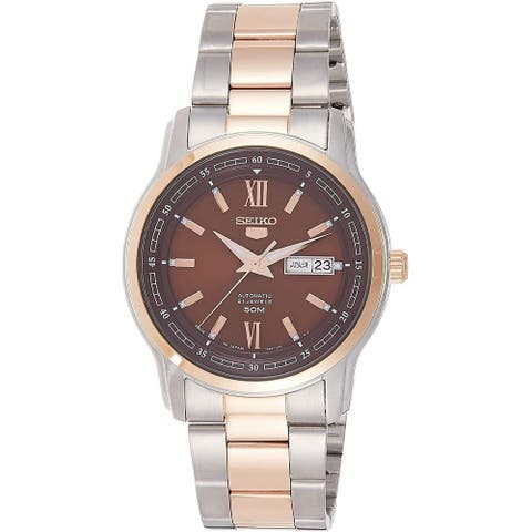 Seiko Men's SNKP18J1 'Seiko 5' Two-Tone Stainless Steel Watch - Brown