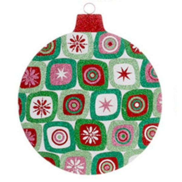 """16"""" Oversized Christmas Brites Red, Green and Pink Glitter Star Ball Ornament"""