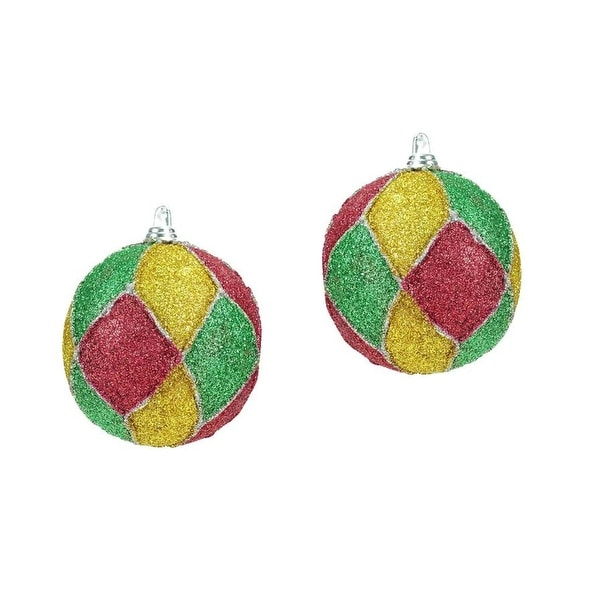 """Set of 2 Red, Green, Silver & Gold Glitter Mardi Gras Christmas Ball Ornaments 3"""""""
