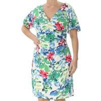 RALPH LAUREN Womens Green Printed Short Sleeve V Neck Knee Length Sheath Dress  Size: 14