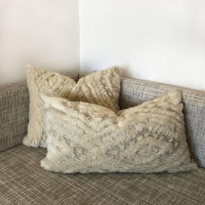 Rodeo Home Fendi Decorative Faux Fur Throw and Lumbar Pillow