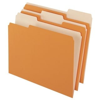 Pendaflex Mediumweight Stock 1/3 Cut Recycled Top Tab File Folder, Letter, Orange, Pack of 100