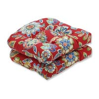 """Set of 2 Blooming Tropical Garden Tufted Outdoor Patio Wicker Seat Cushions 19"""" - Blue"""