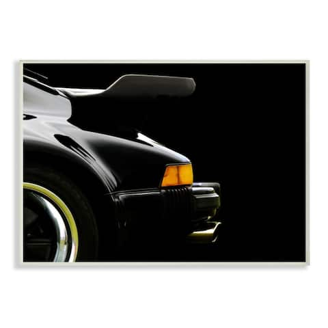 Stupell Industries Modern Sports Car Rear View Detail Black Orange Wood Wall Art