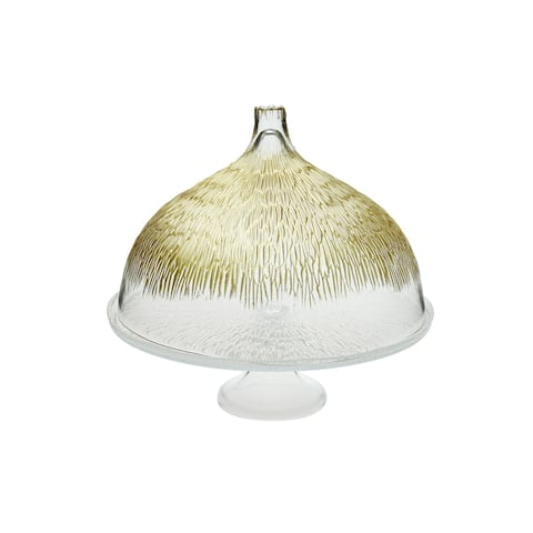 Glass Cake Stand With Dome With Gold Design