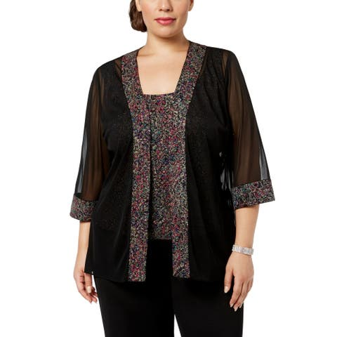 Alex Evenings Womens Jacket Black Size 1X Plus Twinset Printed Shimmer