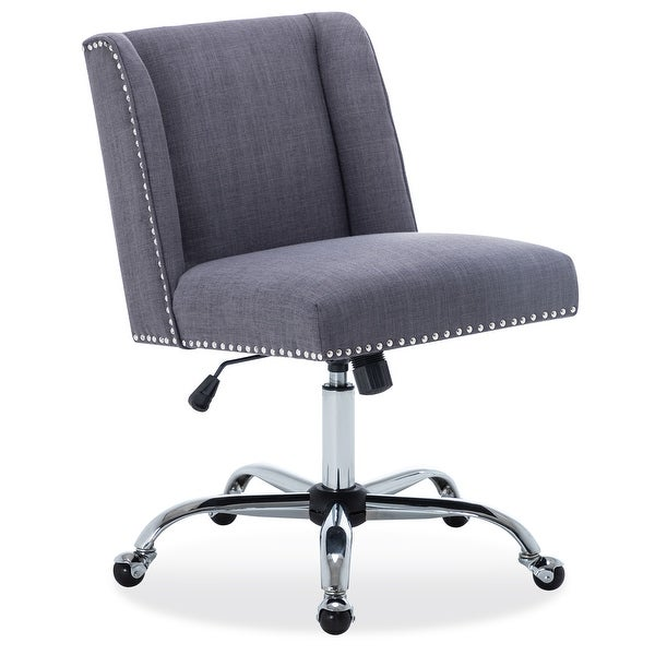 BELLEZE Upholstered Fabric Task Chair Nailhead Trim Swivel Office Desk Chair Height Adjustable, Gray
