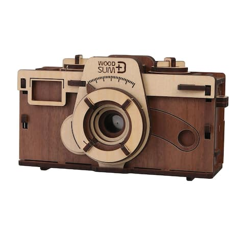 """What On Earth DIY Working Wood Pinhole Camera - Uses 35mm Film - 6"""" x 2.5"""" x 3.25"""" - Brown - 6 in. x 2.5 in. x 3.25 in."""