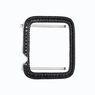 Silver Tone Sterling Silver Black Lab Diamond Case 42MM Apple Watch Bezel