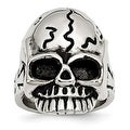 Chisel Stainless Steel Polished and Antiqued Skull Ring - Thumbnail 0
