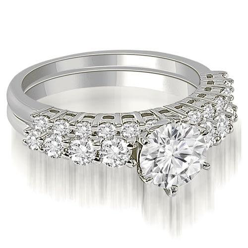 1.40 cttw. 14K White Gold Round Cut Diamond Bridal Set