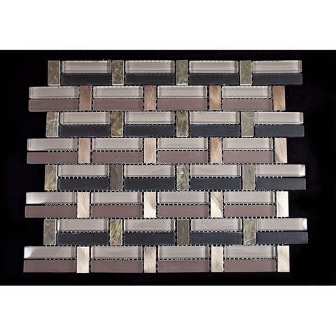 TileGen. Random Sized Mixed Material Mosaic Tile in Brown Wall Tile (10 sheets/10.6sqft.)