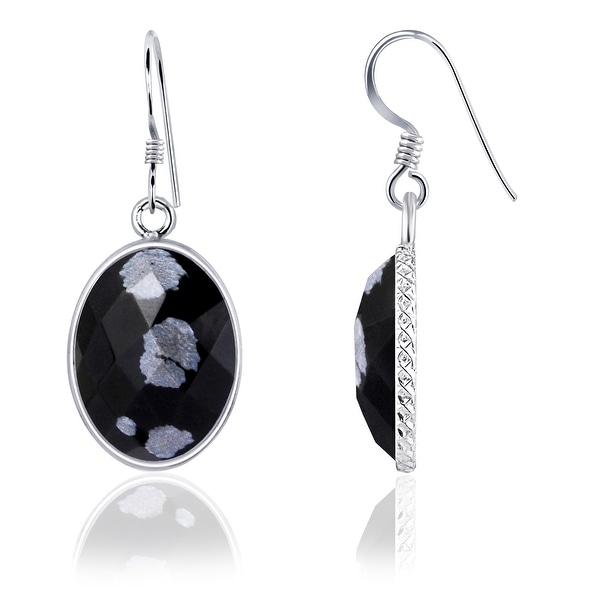 Snowflake Obsidian Sterling Silver Oval Dangle Earrings by Essence Jewelry. Opens flyout.