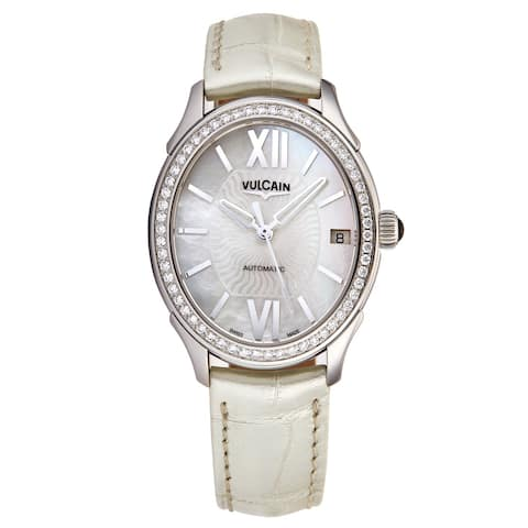 Vulcain Women's 61L164N20BAL412 'First Lady' Mother of Pearl Dial White Satin Leather Strap Diamomd Automatic Watch