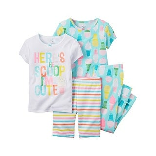 Carter's Little Girls' 4 Piece Cotton Pajama Set, Here's The Scoop, 5-Kids - Print