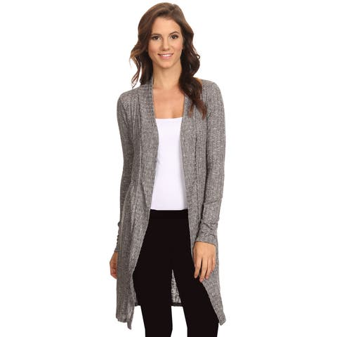 Women's Ribbed Open Front Long Sleeve Cardigan Made in USA HEATHER CHARCOAL (Large)
