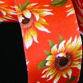 "Orange Sunflower Meadow Print Wired Craft Ribbon 4"" x 20 Yards"