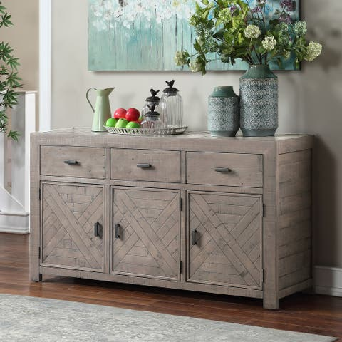 The Gray Barn Aubree Weathered Gray Reclaimed Wood 3-drawer Server