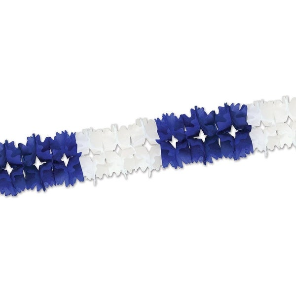 Club Pack of 12 Bold Blue and White Festive Pageant Garland Decorations 14.5'