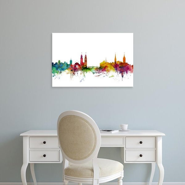 Easy Art Prints Michael Tompsett's 'Zurich Switzerland Skyline' Premium Canvas Art