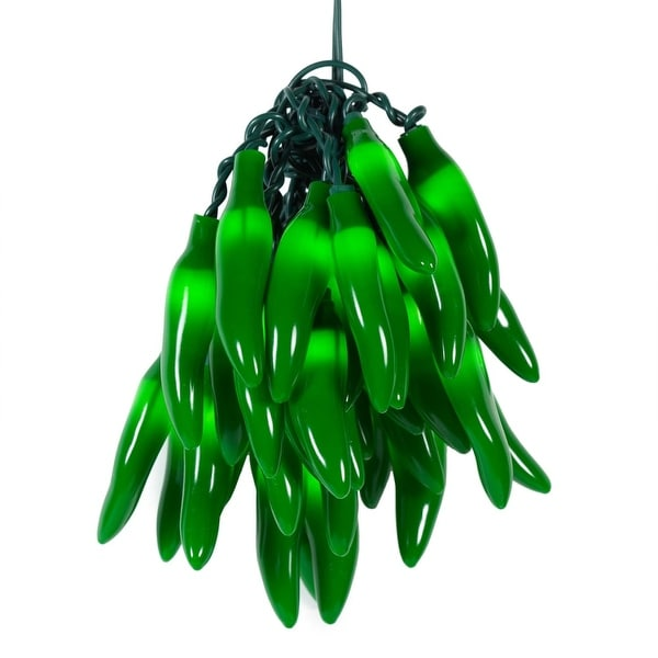 Wintergreen Lighting 71521 35 Bulb Chili Pepper Incandescent Decorative Holiday String Lights with Green Wire - N/A